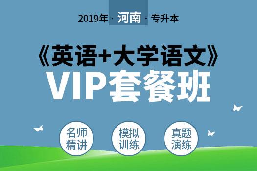 2019年河南专升本《英语+大学语文》VIP套餐班