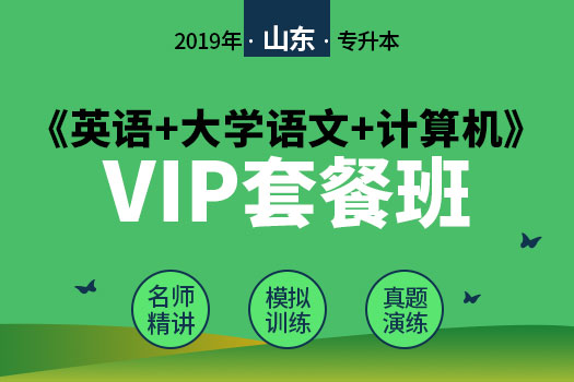 2019年山东省专升本《英语+大学语文+计算机》VIP套餐班