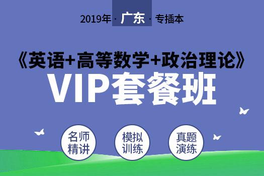 2019年广东专插本《英语+高等数学+政治理论》VIP套餐班