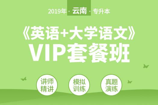 2019年云南专升本《英语+大学语文》VIP套餐班