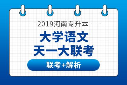 2019年河南专升本天一大联考及试卷解析·大学语文