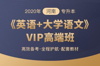 2020年河南专升本VIP高端班·英语+大学语文(预售)