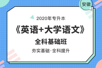 2020年安徽专升本《英语+大学语文》全科基础班